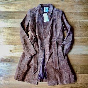 MANGO Leather Trench Coat Tan Size XS BNWT